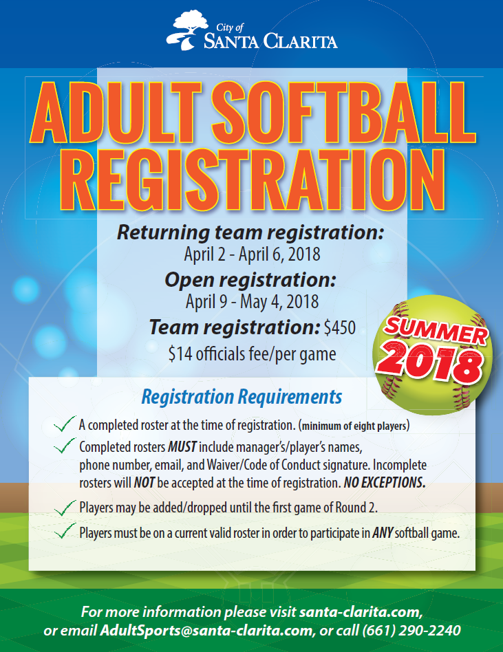 Summer Softball Flyer 2018