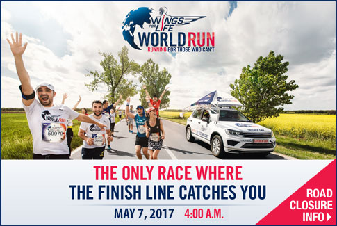 Wings for Life World Run - May 7.  Click to view road closure info.