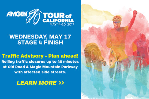 Amgen Tour of California Traffic Advisory - Wednesday, May 14.  Plan Ahead!  Click to learn more.
