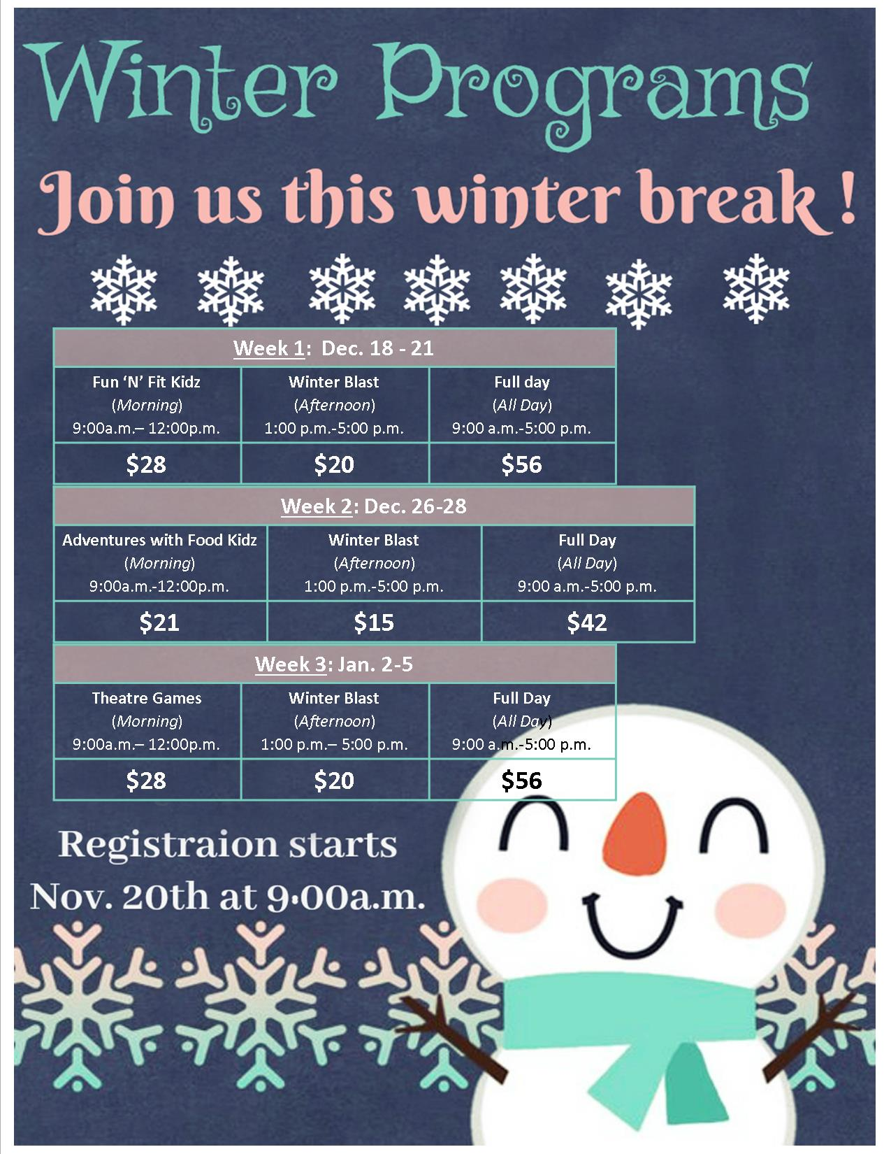 2017 Winter Programs Information