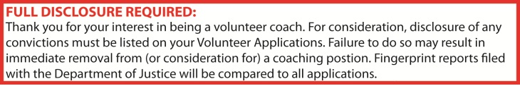 Volunteer Coaching Discolsure